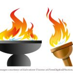 The Olympic flame burns